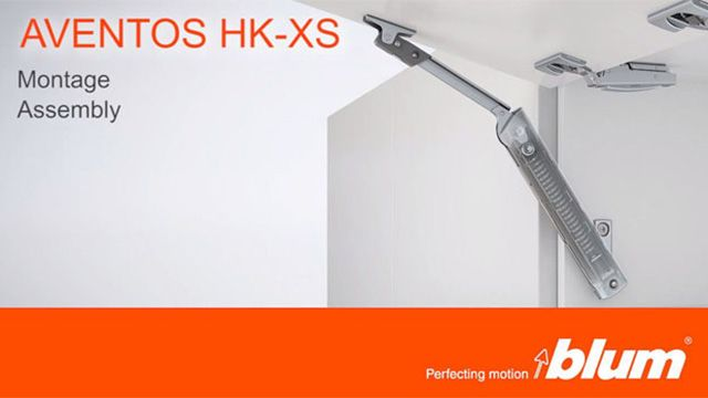 AVENTOS HK-XS lift system – Installation video.This video demonstrates the simple installation of AVENTOS HK-XS, the lift mechanism adjustment and the three-dimensional adjustment options using CLIP top BLUMOTION.(10.27 MB)