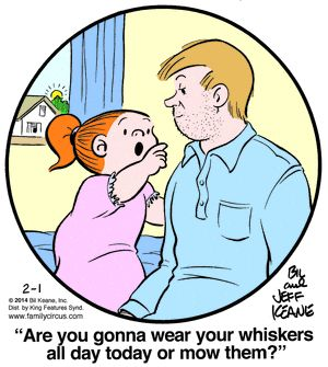 """Family Circus: """"Are you gonna' wear your whiskers all day today or mow them?"""""""
