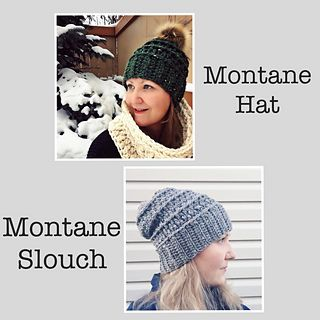Please NOTE: Two patterns are now included with purchase - there are two pdf files you can download, the Montane Hat which is the original chunky version and the Montane Slouch Hat which is made with worsted weight yarn and has a slight slouchy fit