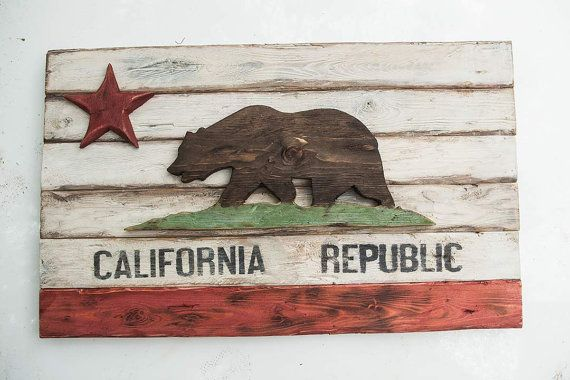 Weathered Wood One of a kind California Republic flag, Wooden, vintage, art, distressed, weathered, recycled, California flag art via Etsy