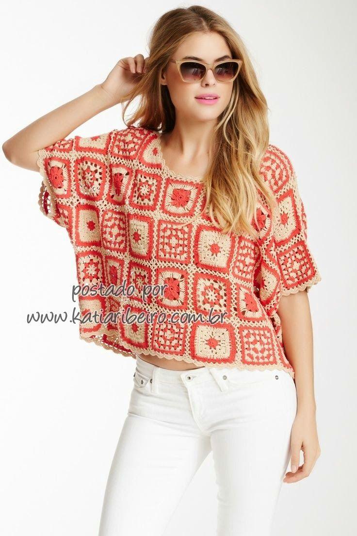 Katia Ribeiro Moda & Decoração Handmade: Blusas de crochê com quadradinhos / granny square - com gráfico