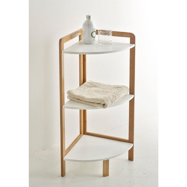 LINDUS Bamboo Bathroom Corner Shelf La Redoute Interieurs : price, reviews and rating, delivery.  Features of Lindus bamboo bathroom corner shelf: Bamboo structure. Lacquered MDF shelves with nitrocellulose varnish finish. Overall size of Lindus bamboo bathroom corner shelf: Width: 32 cm Height: 80 cm Depth: 32 cm Delivered to your door. Your Lindus bathroom shelf unit is supplied for self-assembly. It will be delivered to your door, and even taken upstairs! Note: Please check that all…