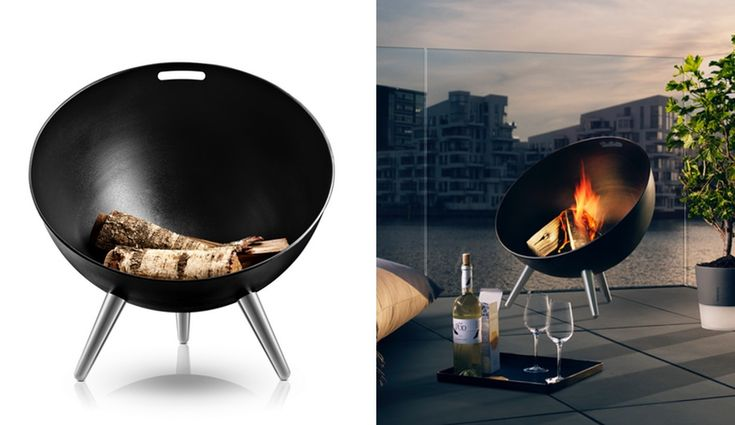 fireglobe sculptural outdoor fireplace by eva solo is both a decorative piece and a sleek. Black Bedroom Furniture Sets. Home Design Ideas