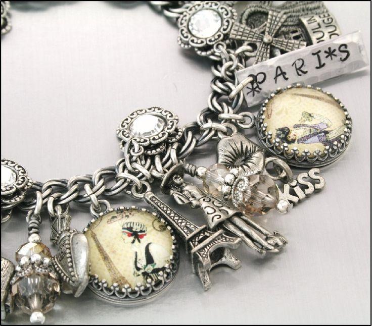 Silver Charm Bracelet, Paris Jewelry, Paris Bracelets