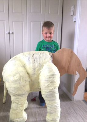 Mother and Son Make a Paper Mache Elephant