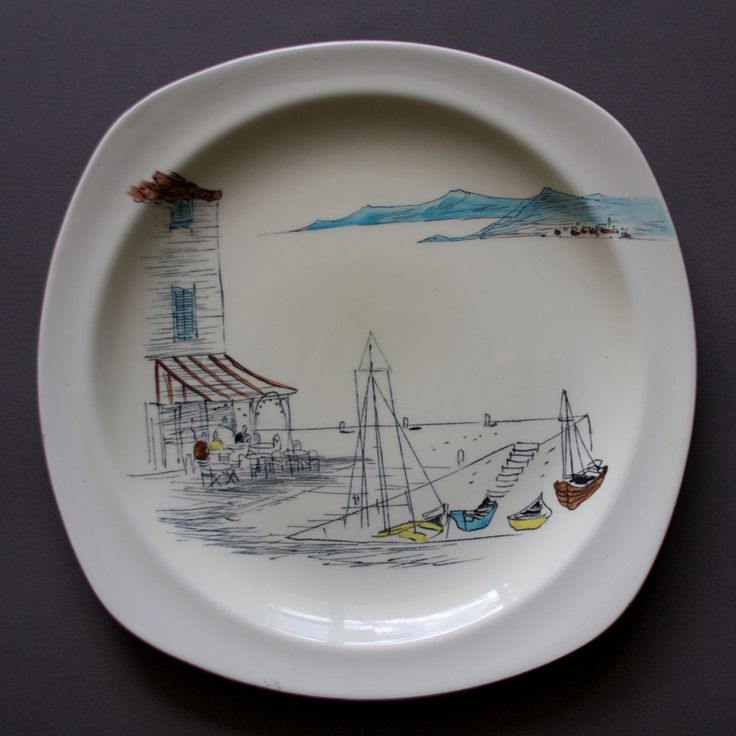 Midwinter 'Riviera' plate, design Hugh Casson, c.1954
