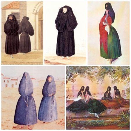 Las Tapadas. María Victoria Hernández. Bellamente delineados manto y saya en el Perú de la primera mitad del siglo xix.