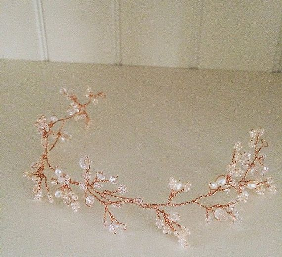 Rose gold hair vine, rustic hair vine, bridal hair vine, wedding hair accessory, rose gold wedding accessory, hair vine