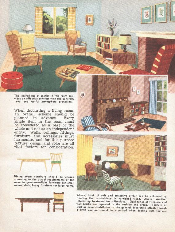Mid Century Decor Living Room 1950s House Interior Design Furniture Furnishings Vintage