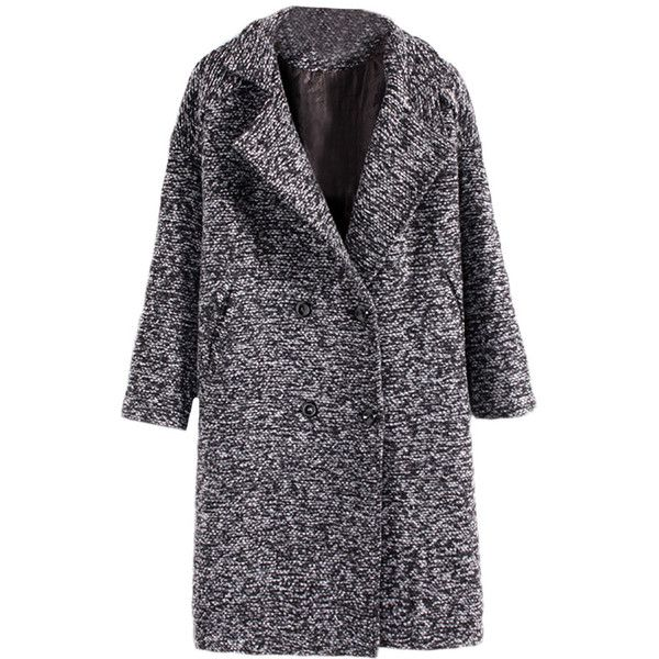 Double-breasted Lapels Quilted Long Woolen Coat (92 CAD) ❤ liked on Polyvore featuring outerwear, coats, blackfive, jackets, double breasted coat, wool coat, woolen coat, long lapel coat and long quilted coat
