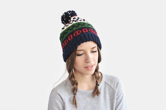 Fair Isle Ski Beanie Hat with Pom-Pom / Hand Knitted