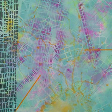 Temporal Dislocations // Katharyna Ulriksen 2008 mixed media on canvas #painting #art #maps #cities #senseofplace #nonplace #travel #transit #temporary #locations