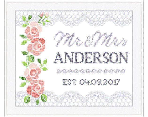 wedding cross stitch pattern diy customizable cross stitch pattern mr mrs wedding gift instant download easy cross stitch pattern