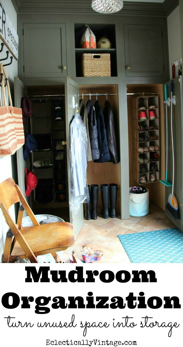 Mudroom Organization Ideas - creative tips for making the most out of every square inch of space for storage eclecticallyvintage.com #DamageFreeDIY