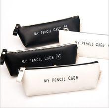 Meilleure offre Triangle mon crayon cas classique noir et blanc couleur étanche PU en cuir de stockage sac cosmétique(China (Mainland))
