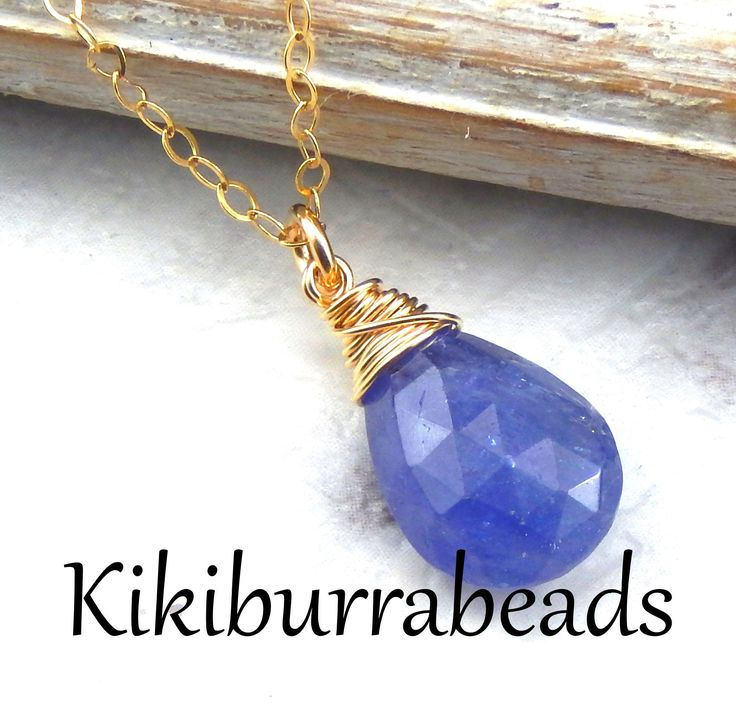 Blue Tanzanite Necklace,Tanzanite Necklace,Royal Blue,Wire Wrapped Gemstone Necklace,Gold Filled by Kikiburrabeads on Etsy
