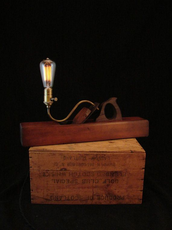 Industrial Desk Lamp Wood  Plane by BenclifDesigns on Etsy, $180.00