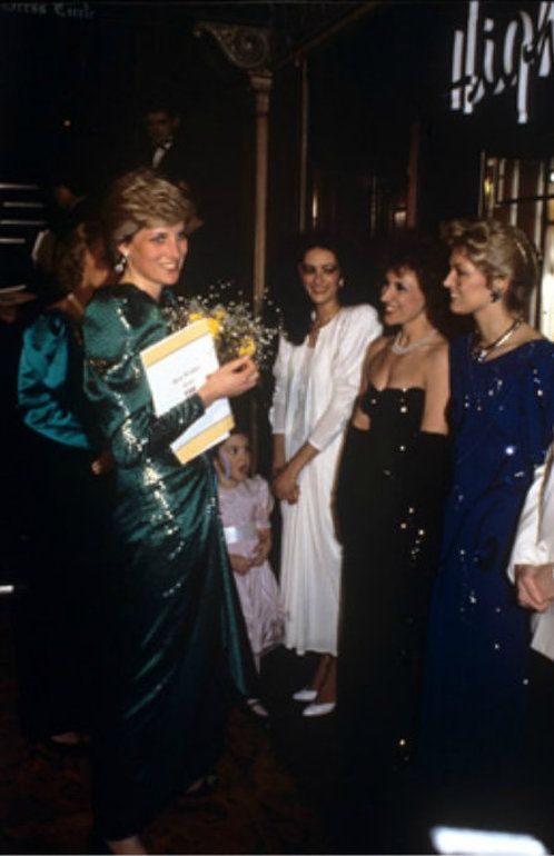 Princess Diana pictured meeting stars of Eastenders, Anita Dobson who starred as Queen Vic Landlady Angie Watts and Gillian Taylforth who starred as Kathy Beale.