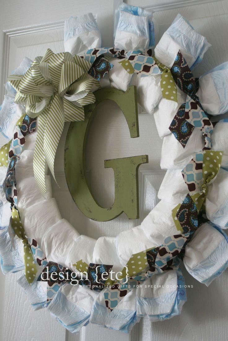 Diaper Wreaths | baby boy diaper wreath...