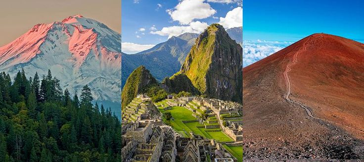 Regardless of whether you believe the myths and legends that surround them, it s hard to deny the sublime ecological power that mountains represent.red mountains (Mount Shasta, Machu Picchu, Mauna Kea)