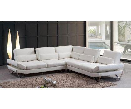 VIG- Aventura Divani Casa Modern Snow White Leather Sectional Sofa