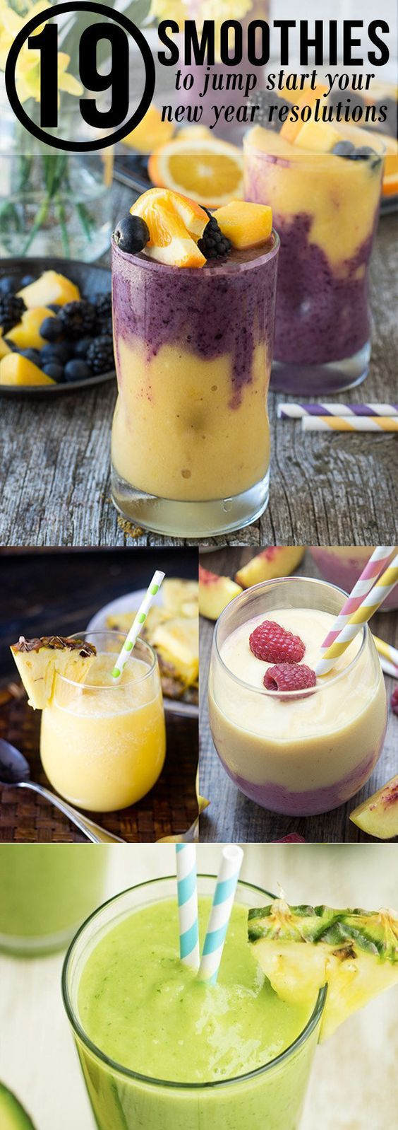 19 Smoothies To Jump Start Your New Years Resolutions - delicious and nutritious smoothies to fuel your body! Perfect to jump start your morning or for an afternoon snack!