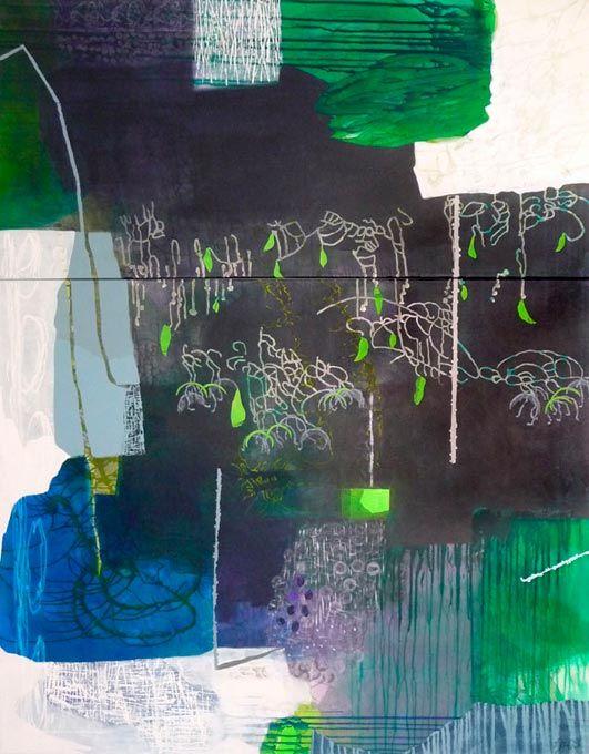 Hängende Gärten, Acryl, Kreide und Collage auf Leinwand, 190 x 150 cm (2-teilig)