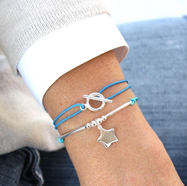 bracelet cordon connecteur T  ou bracelet cordon perles et étoile en argent 925 (24 couleurs de cordon)