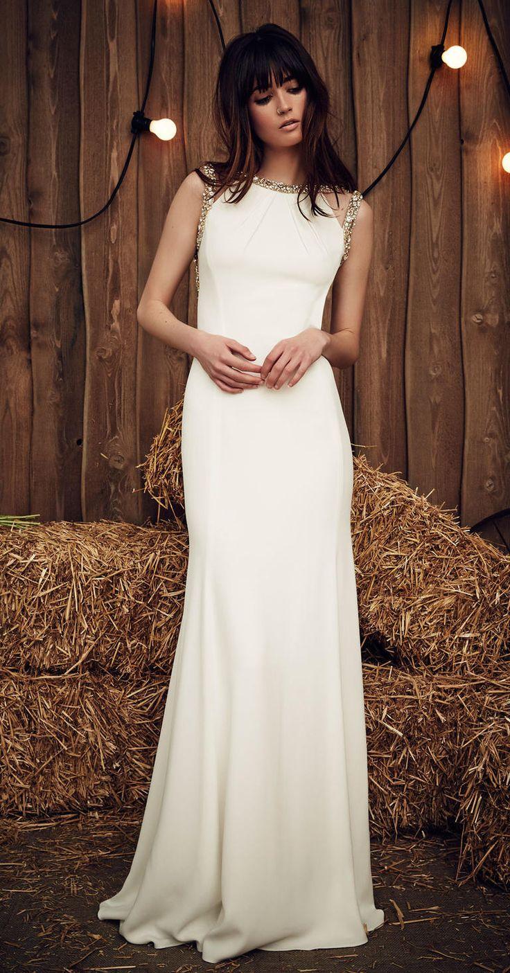 Jenny Packham Spring 2017 Cora silk wedding dress with crystal sleeve and neckline embellishments