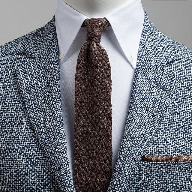 Beautiful jacket, tie, and shirt. The brown pocket sq is too much though. Some blue or orange would be better.