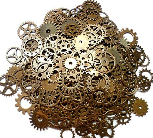 ASVP Shop® Steampunk Cyberpunk Watch Parts Vintage Gears Wheels Cogs Jewellery Making Craft Arts (Copper 100g)