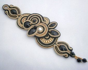 Gold and black soutache bracelet with Swarovski crystals and simulated pearls