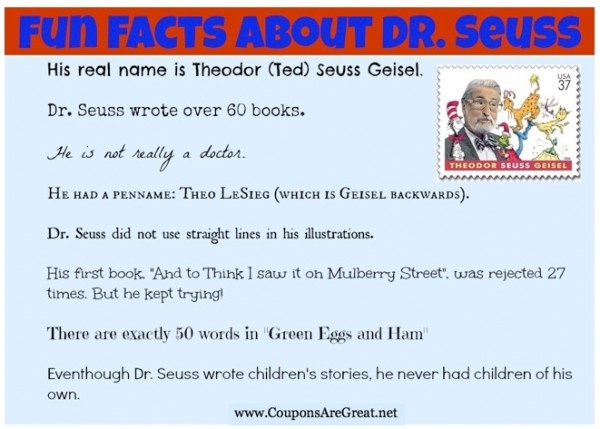 Fun Facts About Dr. Seuss printable.  There is also a Fun Facts About Dr. Seuss list for adults.  Oh, the things you don't know!