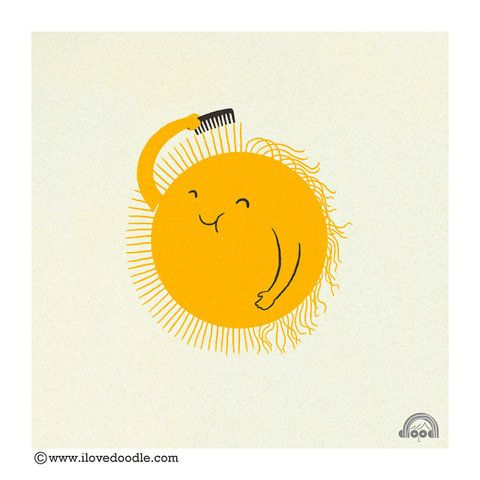 """Sun. """"Bad Hair Day"""" by Heng Swee Lim from http://ilovedoodle.com/wp/"""
