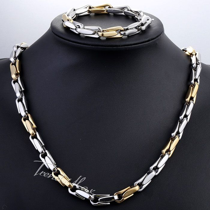 Find More Jewelry Sets Information about JEWELRY SET 8.5mm Mens Chain Boys Cable Link Yellow Gold Silver Tone Stainless Steel Necklace Bracelet Set Lobster Clasp KS186,High Quality clasp magnetic,China clasps gold Suppliers, Cheap clasp envelope from Trendsmax Flagship Store on Aliexpress.com