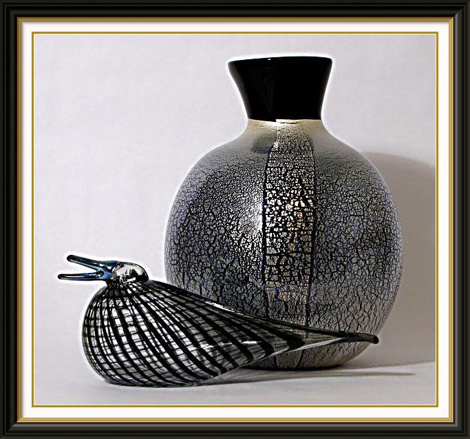 Studio photography framed Toikka glass bird with blown glass vase  $150