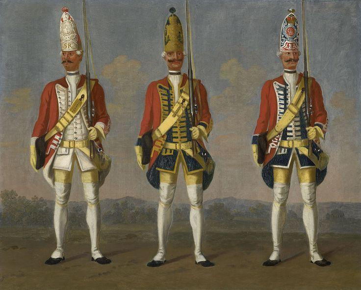 Hanover; Infantry Regiments, Grenadiers, From L to R Block, Hattorf & Hammerstein, c.1752 by David Morier