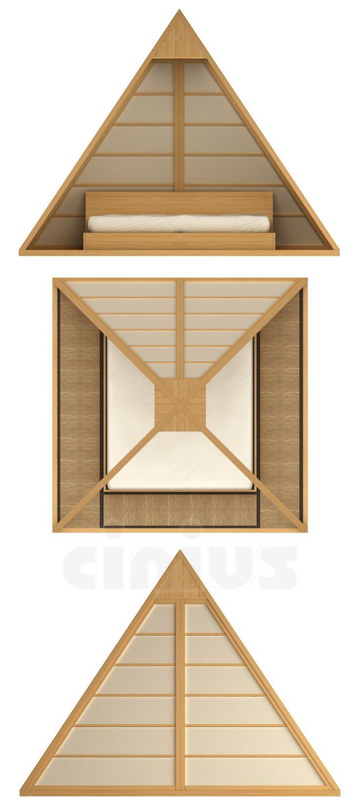 [Letto Cheope] Con un inedito richiamo al mistero delle Piramidi, la struttura mostra un design rigorosamente geometrico. Il giroletto in Tatami, i pannelli Shoji e il punto-luce al vertice aumentano la maestosa eleganza del letto. (With an unprecedented reference to the mystery of the Pyramids, the structure shows a strict geometric design. The bed frame in Tatami, the Shoji panels and the light at the top increase the stately elegance of the bed.) #Cinius
