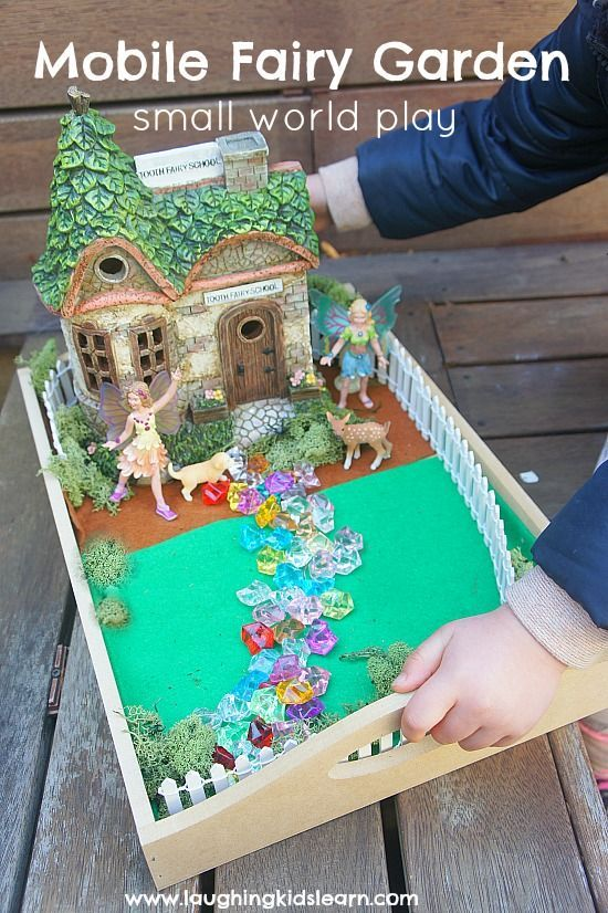 How to make a small world mobile fairy garden for indoor and outdoor use - Laughing Kids Learn