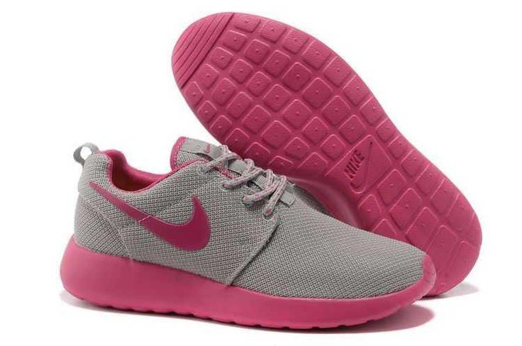 UK - Nike Roshe Run Mesh Womens Light Gray and Rose Pink Black Friday