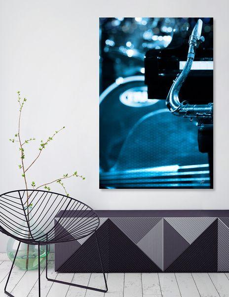 Jazz Quartet #jazz #musicprint #bluetone #monochrome #jazzclub Numbered Edition Print by @cinema4design on @Curioos