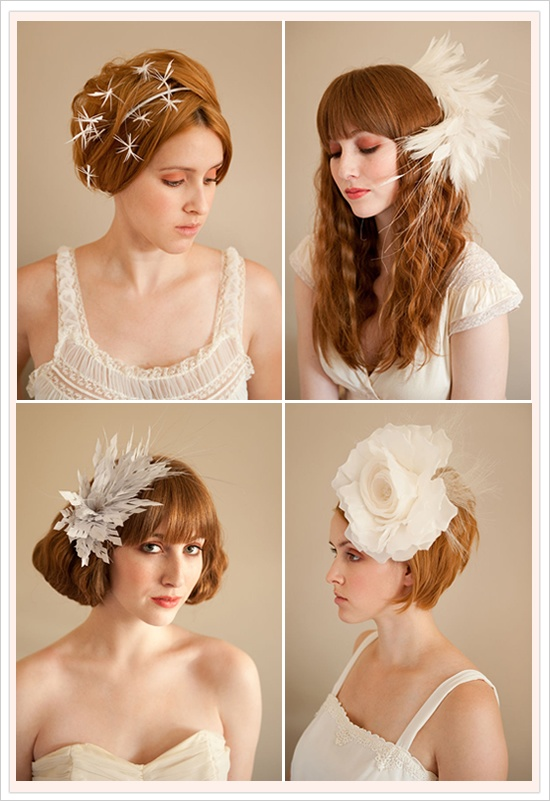 Hats and Fascinators for brides and bridesmaids.  Very cool. However, I think I'd have to punch a bride if she wore that bottom right one, lol.