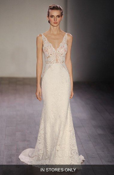 Fresh Lazaro V Neck Lace Trumpet Dress In Stores Only available at Nordstrom