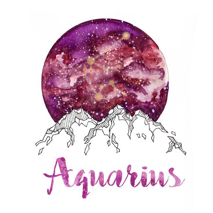 Aquarius  Zodiac Watercolor Print by PickledCherryblossom on Etsy