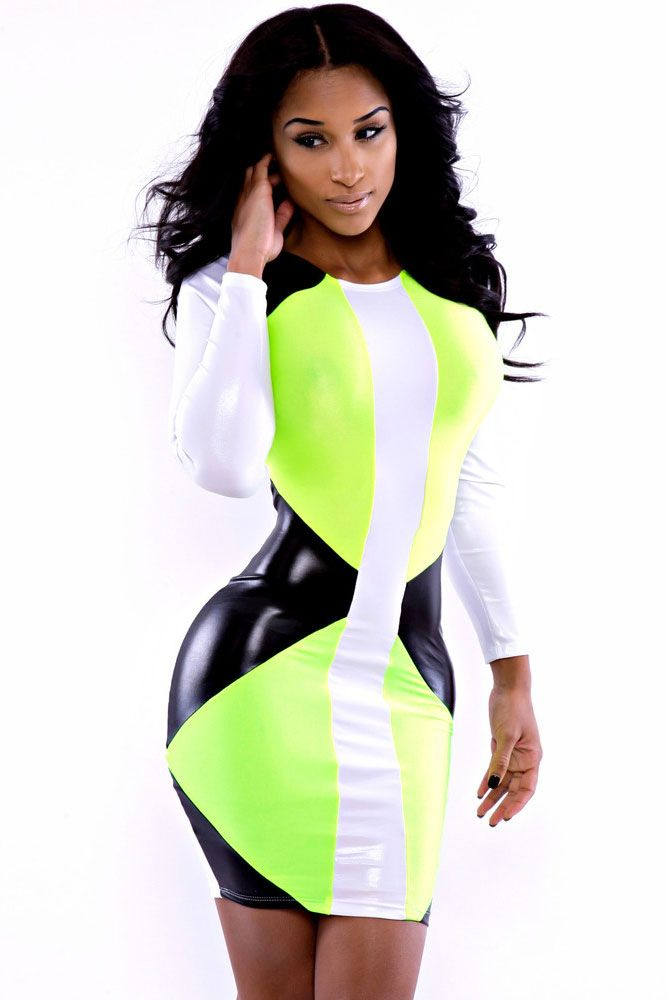 Green Faux Leather Speedway Bodycon Dress