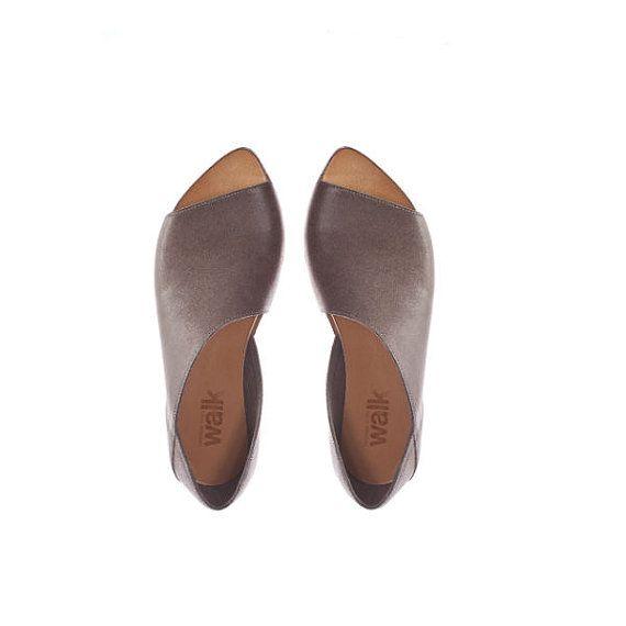 Grey open toe summer shoes for women by WalkByAnatDahari on Etsy, $205.00
