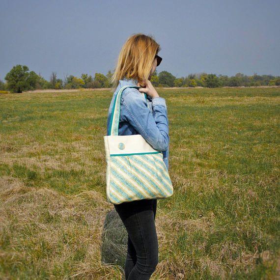 Green Beige Shoulder Women Bag / Large Spring Summer Shoulder