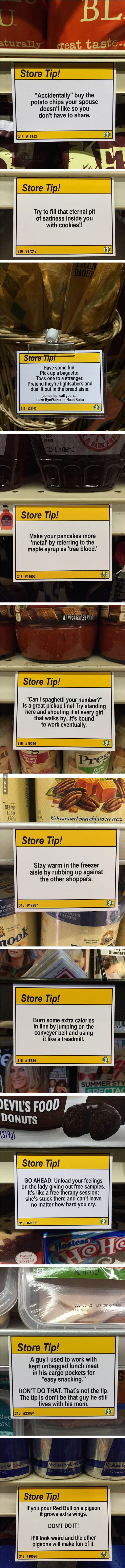 "Guy Leaves Hilarious ""Shopping Tips"" In Grocery Store"