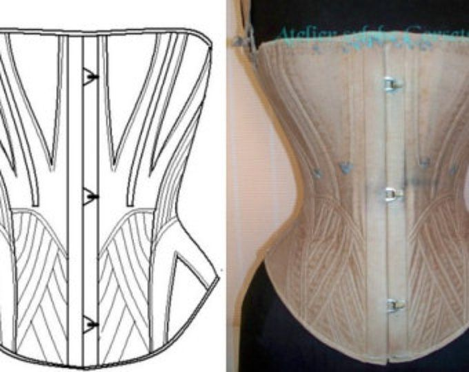 REF D corset pattern from antique transitional mid XIX century period 26 inches waist size