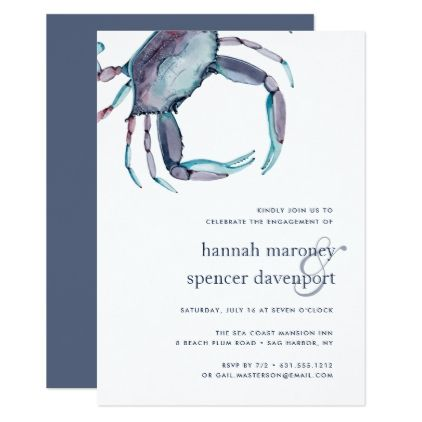 Blue Crab Engagement Party Invitation - invitations personalize custom special event invitation idea style party card cards